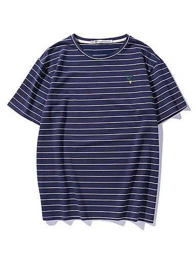 Bomull Medium Kortermet,Rund hals T-skjorte Stripet Sommer Aktiv Ut på byen Dame
