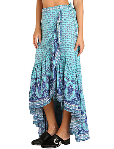 Women's Going out Holiday Asymmetrical Skirts, Cute Trumpet/Mermaid Polyester Summer