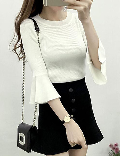 Women's Daily Regular Pullover,Solid Round Neck 3/4 Length Sleeves Cotton Spring Medium Micro-elastic