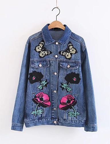 Women's Going out Daily Active Street chic Spring Fall Denim Jacket
