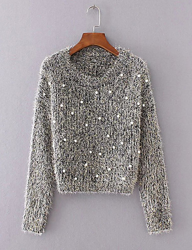 Women's Long Sleeve Mohair Pullover - Solid Colored / Fall / Winter
