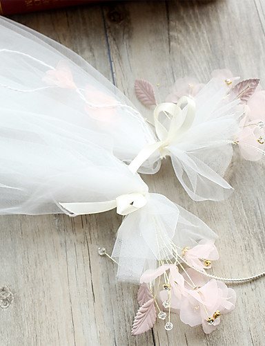 One-tier Pencil Edge Wedding Veil Fingertip Veils with Satin Flower / Satin Bow / Ribbon Tie Tulle / Classic
