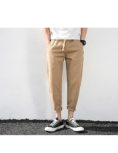 Men's Mid Rise Inelastic Chinos Pants,Simple Straight Solid