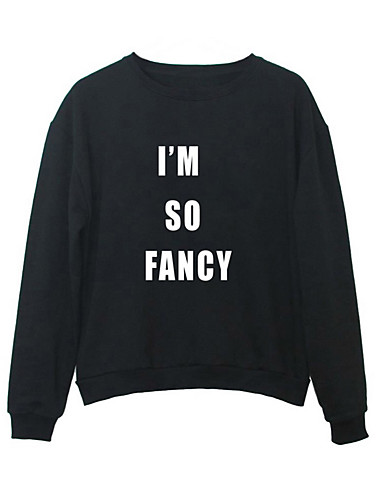 Men's Going out Solid Letter Round Neck Sweatshirt Regular, Long Sleeves Spring Fall Polyester