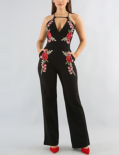 Women's Going out Daily Club Street chic Embroidered Halter Jumpsuits