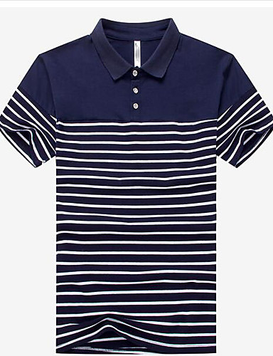 Bomull Annet Kortermet,Skjortekrage Polo Stripet Enkel Fritid/hverdag Herre