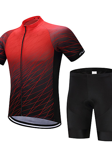 cheap Cycling Clothing-FUALRNY® Men's Short Sleeve Cycling Jersey with Shorts - Black / Red Bike Clothing Suit Quick Dry Sweat-wicking Sports Polyester Coolmax® Silicon Lines / Waves Mountain Bike MTB Road Bike Cycling