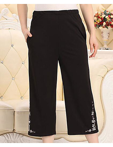 Women's Mid Rise Micro-elastic Skinny Pants,Simple Straight Pure Color Embroidered Solid Embroidery