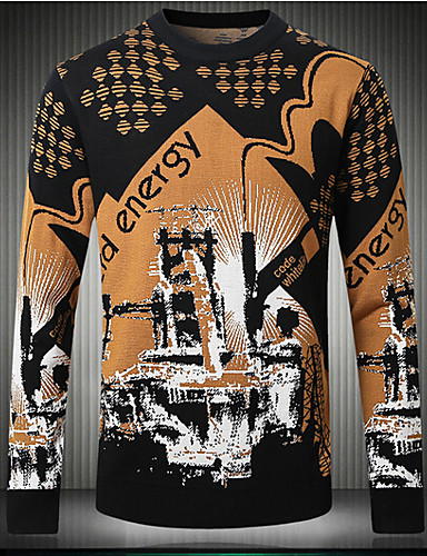 Men's Daily Regular Pullover,Print Round Neck Long Sleeves Cotton Winter Thick Stretchy