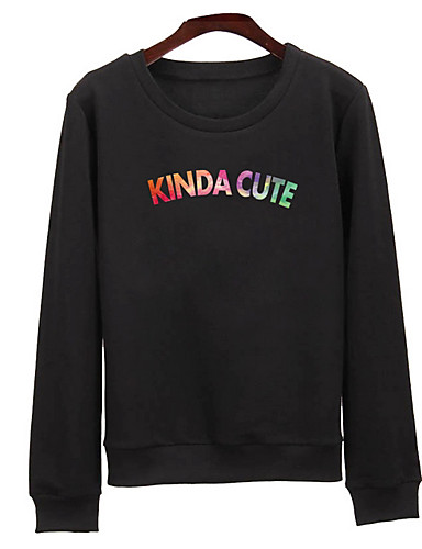 Women's Holiday Sweatshirt Letter Round Neck Micro-elastic Cotton Long Sleeve Spring Fall