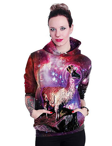 Women's Daily Casual Hoodie Print Hooded Inelastic Polyester Long Sleeve Winter