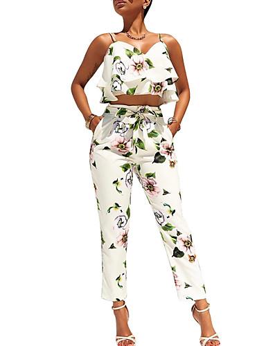 billige Dametopper-Dame Blomst / Straight Leg / Rynker Kort Singleter Bukse - Overskjørt / Sløyfe / Drapering, Blomstret Med stropper / Sommer
