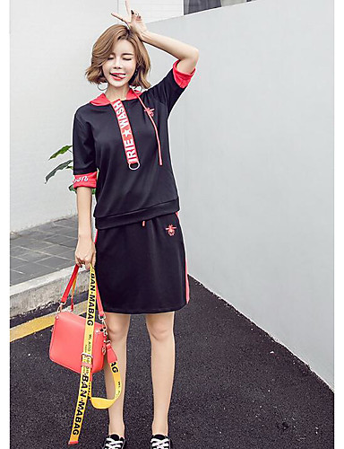 Women's Daily Sports Hat Summer T-shirt Skirt Suits,Solid Print Hooded Short Sleeve 100% Cotton