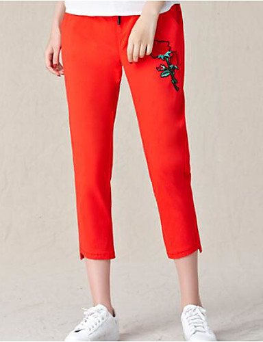 Women's Mid Rise Micro-elastic Chinos Pants,Simple Slim Floral