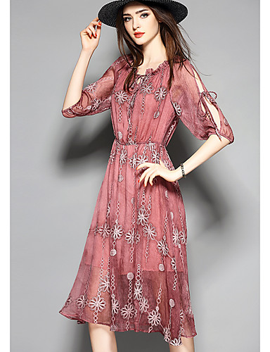 Women's Going out Cute A Line Dress,Floral Boat Neck Knee-length Half Sleeves Polyester Summer Mid Rise Micro-elastic Thin