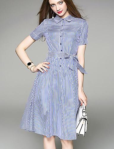 Damen Hemd Kleid-Ausgehen Gestreift Hemdkragen Knielang Kurzarm Polyester Sommer Mittlere Hüfthöhe Mikro-elastisch Mittel