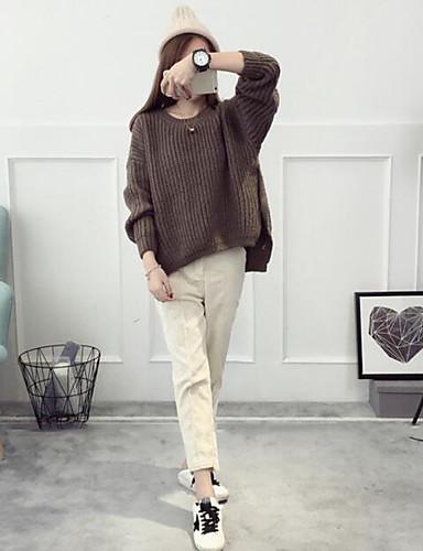 Damen Standard Pullover-Lässig/Alltäglich Einfach Solide Einfarbig Rundhalsausschnitt Langarm Acryl Herbst Mittel Mikro-elastisch