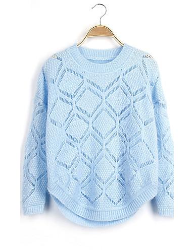 Damen Kurz Pullover-Ausgehen Lässig/Alltäglich Einfach Solide Rundhalsausschnitt Langarm Acryl Herbst Winter Dick Mikro-elastisch
