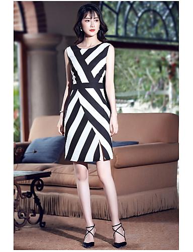 Damen Hülle Kleid-Ausgehen Niedlich Gestreift Rundhalsausschnitt Übers Knie Ärmellos Polyester Sommer Mittlere Hüfthöhe Mikro-elastisch