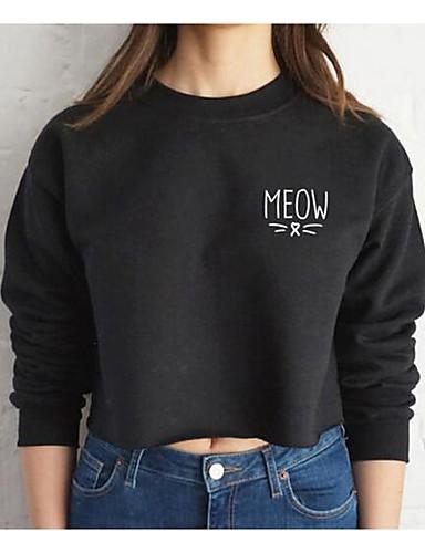Damen Pullover Lässig/Alltäglich Einfach Solide Druck Rundhalsausschnitt Dehnbar Baumwolle Lange Ärmel Frühling