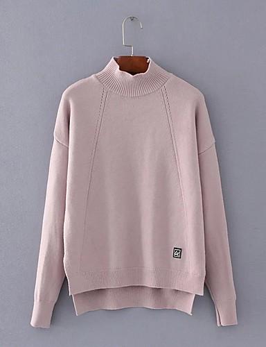Damen Standard Pullover-Lässig/Alltäglich Ausgehen Einfach Niedlich Solide Rollkragen Langarm Baumwolle Frühling Herbst Dünn