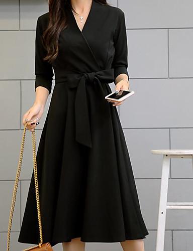Damen A-Linie Hülle Kleid Solide V-Ausschnitt Hohe Hüfthöhe