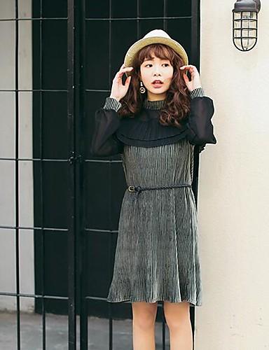 Damen Chiffon Kleid-Lässig/Alltäglich Einfarbig Rundhalsausschnitt Übers Knie Langarm Polyester Frühling Mittlere Hüfthöhe Unelastisch