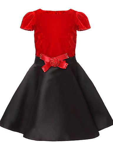 Kinder Mädchen Blumig Patchwork Kurzarm Kleid / Baumwolle