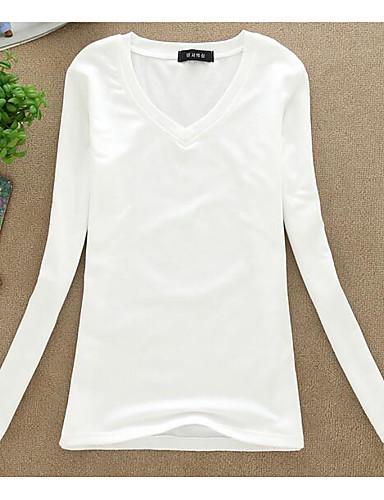 Damen Solide Einfach Lässig/Alltäglich Bluse,Rundhalsausschnitt Sommer Langarm Polyester Dünn
