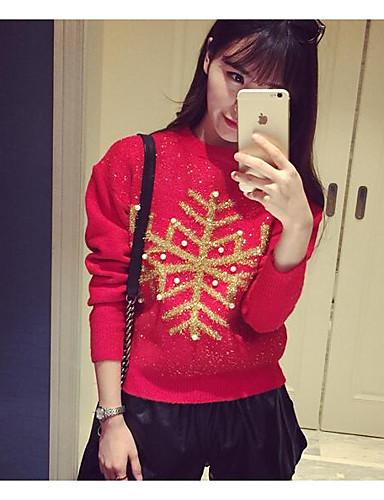 Damen Standard Pullover-Lässig/Alltäglich Einfach Druck Rundhalsausschnitt Langarm Baumwolle Herbst Mittel Mikro-elastisch