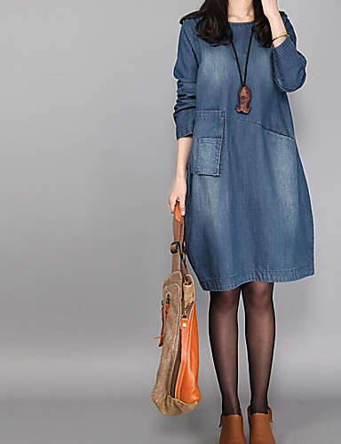 Women's Chic & Modern Loose Dress - Solid Colored, Denim