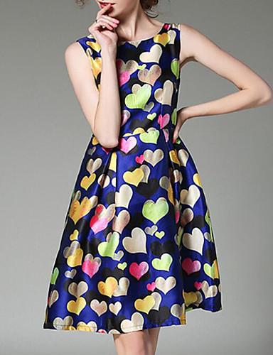 Damen Hülle Kleid-Ausgehen Druck Rundhalsausschnitt Übers Knie Ärmellos Polyester Sommer Mittlere Hüfthöhe Mikro-elastisch Mittel