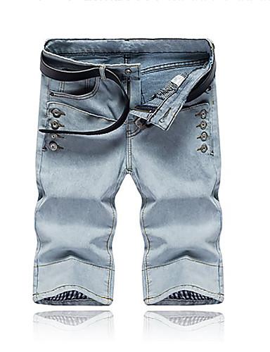 بنطلون جينزات مطاط صغير مستقيم وسط بسيط سادة رجال