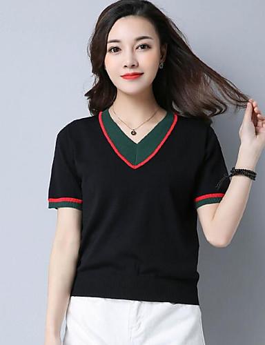 Damen Standard Pullover-Lässig/Alltäglich Solide Gestreift Druck V-Ausschnitt Kurzarm Leinen Andere Frühling Sommer Dünn Mikro-elastisch