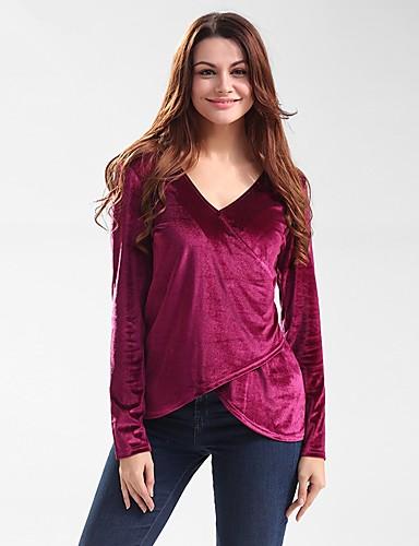 Damen Standard Pullover-Ausgehen Lässig/Alltäglich Retro Einfach Solide V-Ausschnitt Langarm Baumwolle Polyester Herbst Winter Mittel