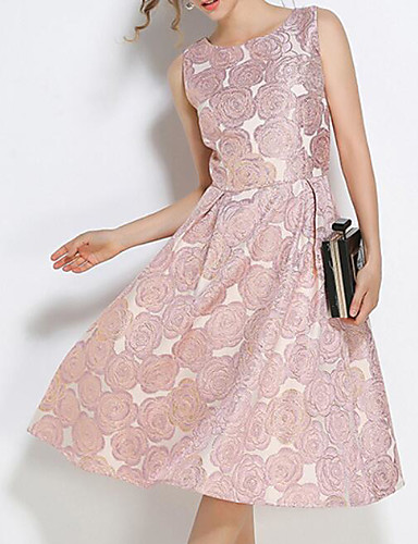 Damen Hülle Kleid-Ausgehen Blumen Rundhalsausschnitt Midi Ärmellos Polyester Sommer Mittlere Hüfthöhe Mikro-elastisch Mittel