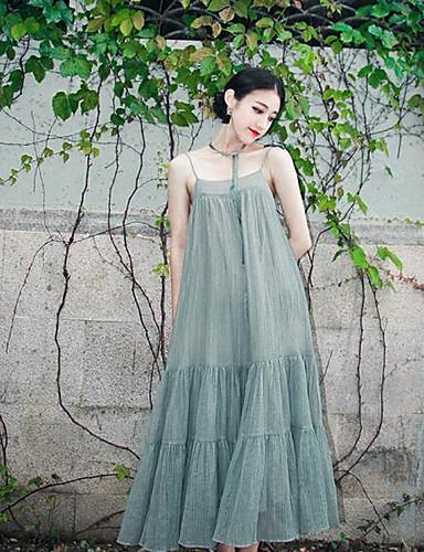Damen Hülle Kleid-Lässig/Alltäglich Solide Gurt Maxi Ärmellos Baumwolle Frühling Mittlere Hüfthöhe Unelastisch Undurchsichtig