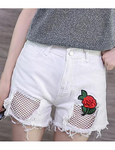 Damen Einfach Mittlere Hüfthöhe Unelastisch Chinos Gerade Hose Solide Stickerei