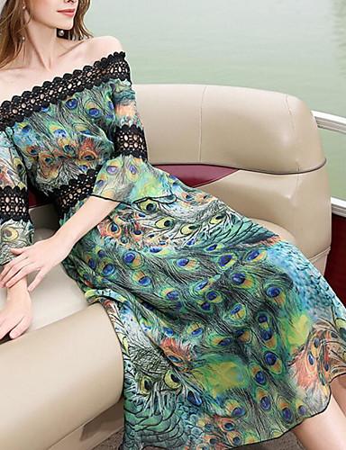 Damen Hülle Kleid-Ausgehen Druck Bateau Midi 3/4 Ärmel Polyester Sommer Mittlere Hüfthöhe Mikro-elastisch Mittel