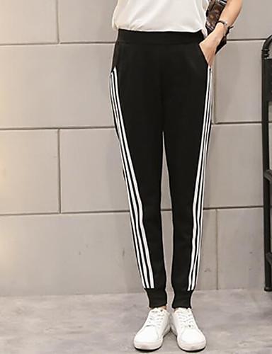 Damen Einfach Mittlere Hüfthöhe Mikro-elastisch Aktiv Lose Hose Einfarbig