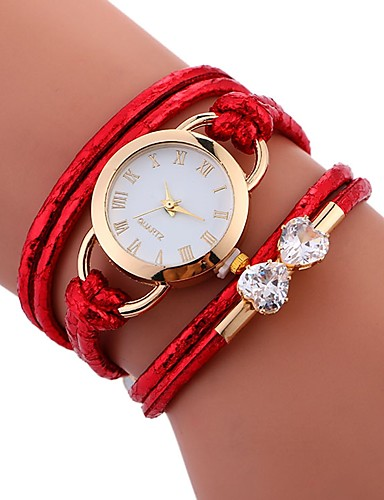 Women's Bracelet Watch Quartz Water Resistant / Water Proof Creative PU Band Analog Casual Fashion Elegant White / Blue / Red - Red Blue Pink / Stainless Steel
