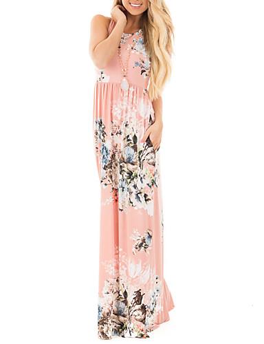 Damen Hülle Kleid-Alltag Festtage Ausgehen Retro Sexy Boho Blumen Rundhalsausschnitt Maxi Ärmellos Polyester Frühling Sommer Hohe Hüfthöhe