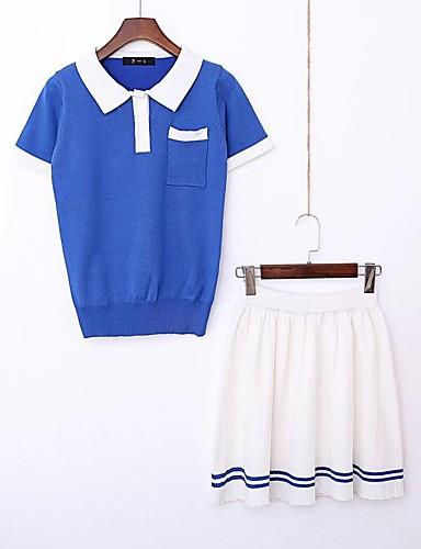 Damen Solide Einfach Niedlich Aktiv Ausgehen Strand T-shirt Rock Anzüge,Hemdkragen Sommer Kurze Ärmel Gefaltet Baumwolle Mikro-elastisch