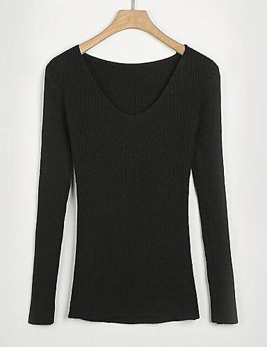 Damen Standard Pullover-Lässig/Alltäglich Einfach Solide V-Ausschnitt Langarm Baumwolle Frühling Herbst Mittel Mikro-elastisch
