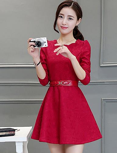 Damen A-Linie Kleid-Ausgehen Solide Rundhalsausschnitt Knielang Langarm Polyester Frühling Hohe Hüfthöhe Mikro-elastisch Mittel