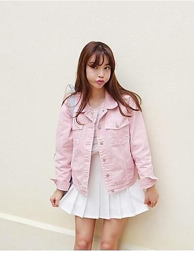Damen Solide Einfach Freizeit Alltag Standard Jacke, Hemdkragen Herbst Baumwolle Andere