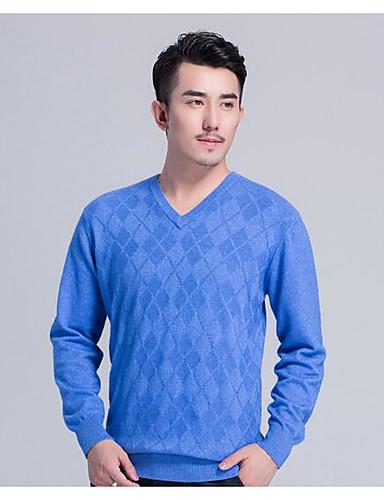 Herrn Wolle Langarm Pullover - Solide V-Ausschnitt