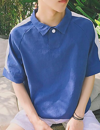 Herren Solide Einfach Ausgehen Lässig/Alltäglich T-shirt,Ständer Kurzarm Baumwolle