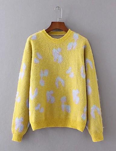 Damen Standard Pullover-Ausgehen Lässig/Alltäglich Einfach Druck Rundhalsausschnitt Langarm Wolle Baumwolle Polyester Frühling Herbst