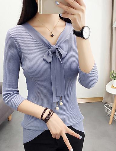 Damen Standard Pullover-Lässig/Alltäglich Solide V-Ausschnitt Langarm Polyester Frühling Sommer Dünn Mikro-elastisch